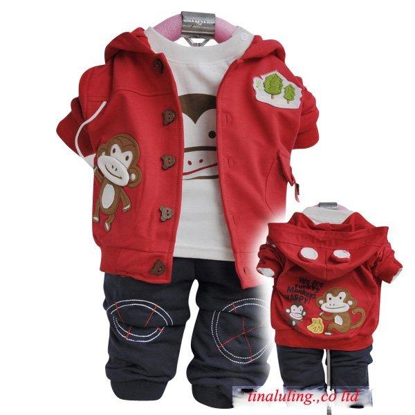 children suit kids fashion suit baby sets, autumn 3pcs set Outerwear+T-shirt+Pants for boys,3size*2colors in stock free shipping