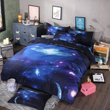 Galaxy bedding 3pcs/4pcs milky way queen king hipster 3D duvet cover set(China)
