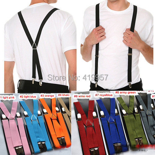 10 2.5cm width 4 clips Men's suspenders 26 colors adjustable women's braces --BD002 - Sister7983(Min Order $5 store)