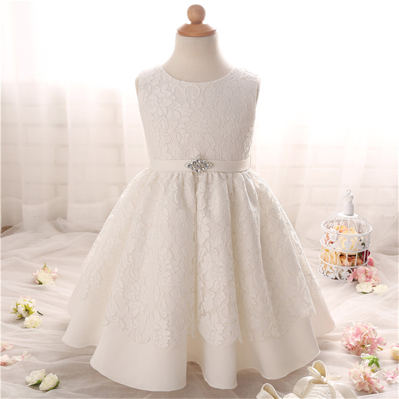 2016 Toddler Girl Summer Dress Elegant Solid White Baby