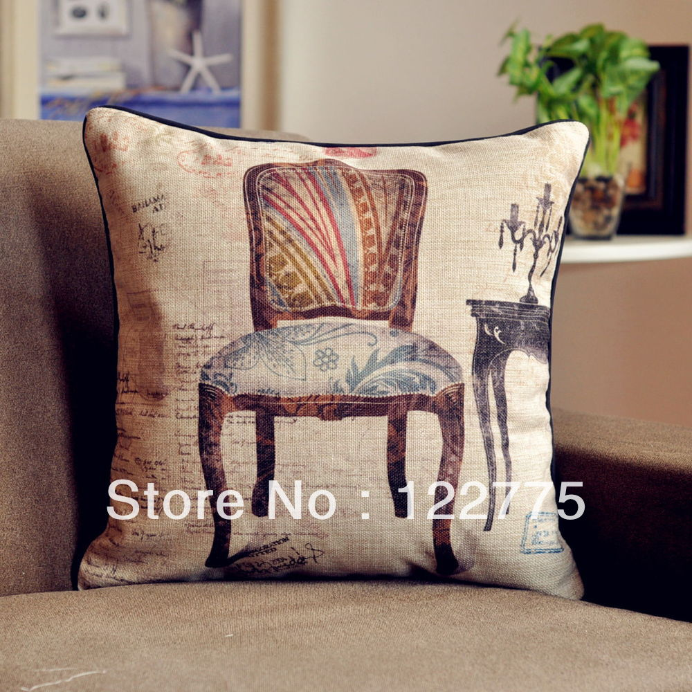 Vintage Style Throw Pillows : 45x45cm Vintage Style The Old Chair Cotton Linen Throw Pillow Covers Cushion Cover Pillow Case ...
