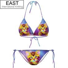 New Sexy Brand Bikini Swimwear Cat Animal Swimsuit Cut Out Bandage Bathing Suit Blue Color F867