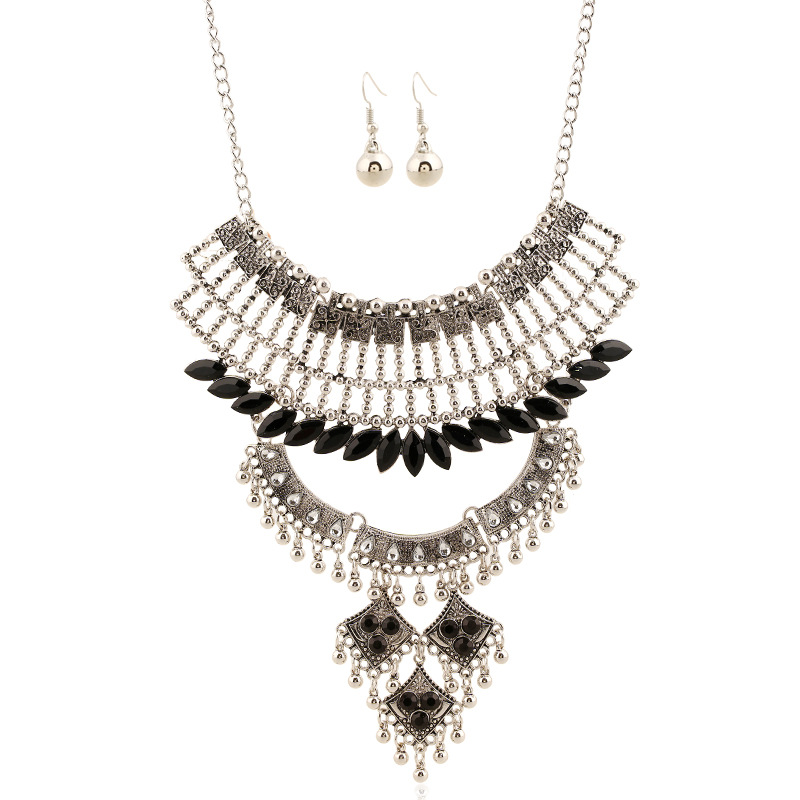 2016 Women Necklace Retro Water Drop Resin Silver Alloy Necklace And Earring Set Fine Jewelry Statement Necklace Bijoux Femme(China (Mainland))