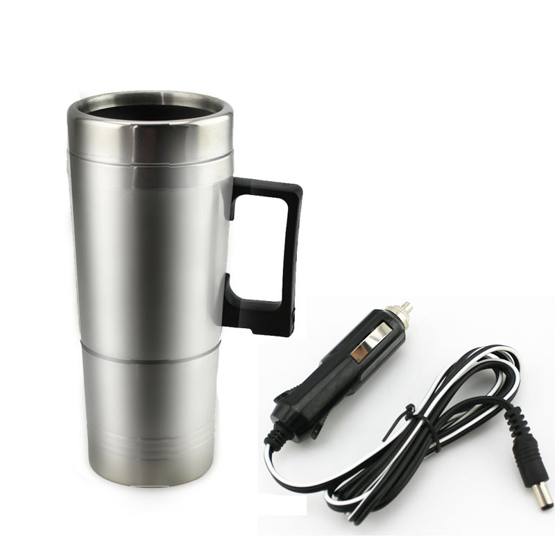 Electric Car Thermal Cup 12V Travel Water Botter Heater Stainless Steel Handgrip Thermos Vacuum Flask Kettle Insulation Mug Cup(China (Mainland))
