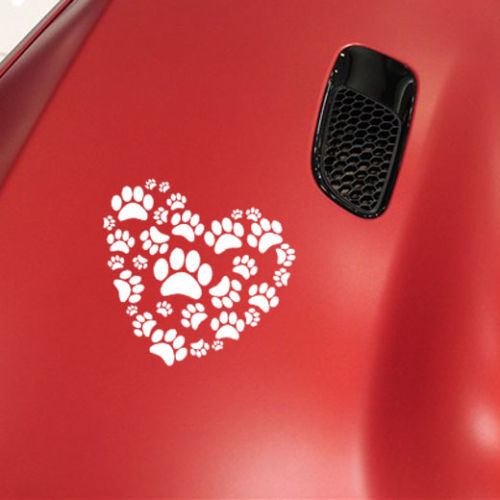 Car Sticker Dog Paw Print On Your Heart Car Decals Dog Paw Vinyl Car Body Decals(China (Mainland))