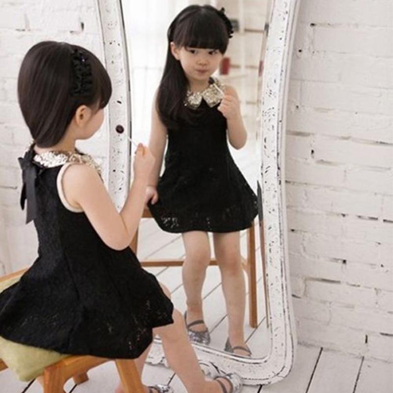 2015 New Summer Lovely Baby Kids Children Girls Dress Sequins Collar Sleeveless Lace Vest Princess Tutu Dress X60*TZ0006#s10(China (Mainland))