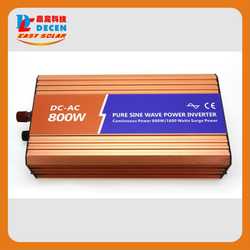 DECEN@12VDC 800W 110V/120V/220V/230VAC 50Hz/60Hz Peak Power 1600W Off-grid Pure Sine Wave Solar Inverter or Wind Power Inverter(China (Mainland))