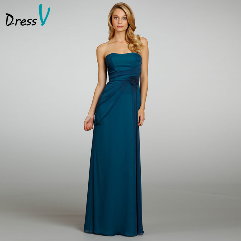 Cheap long bridesmaid dress simple a line strapless flower for Cheap wedding reception dresses for bride
