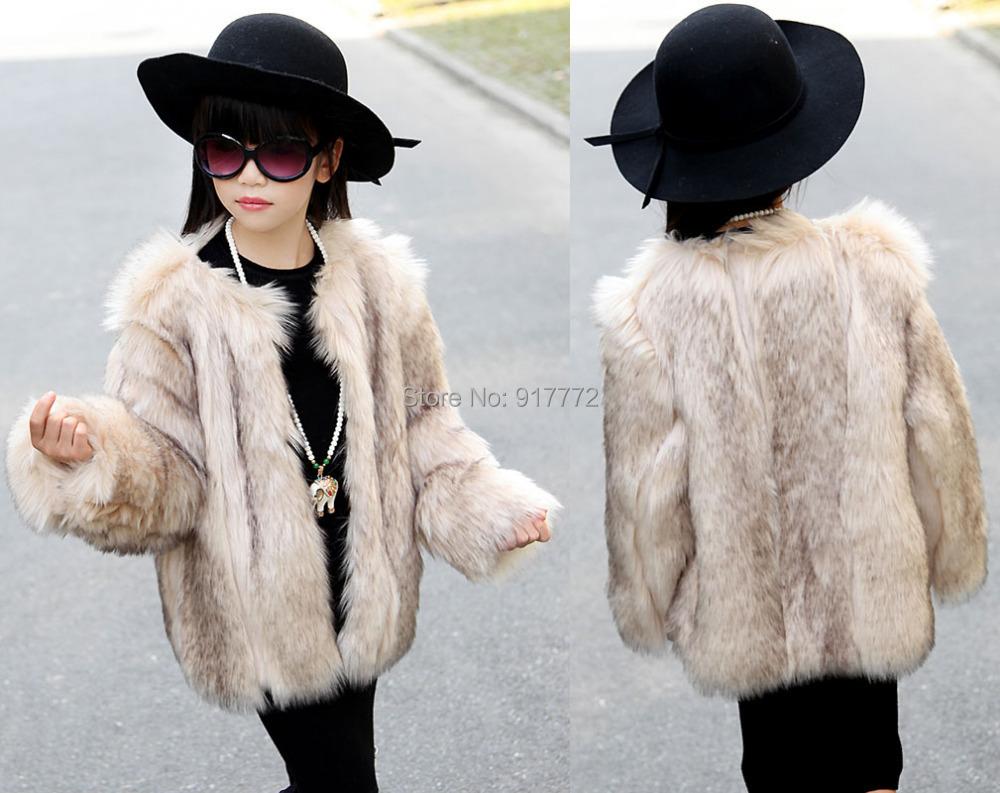 casaco de pele da crianca hot sale warm winter children outerwear toddler baby girls fake fur coats jackets child kids faux fur(China (Mainland))