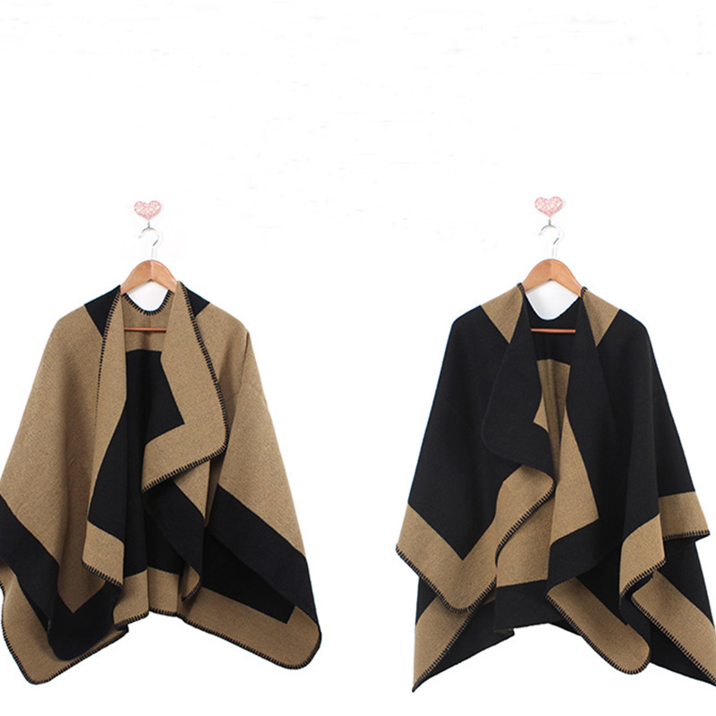 New Luxry Brand Color matching cashmere Poncho winter thicker warm shawls wrap double side Desigual cape Echarpes YL-70087Одежда и ак�е��уары<br><br><br>Aliexpress