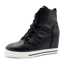 LORFRCIN Kadın Çizmeler Hakiki Deri Takozlar Platformu Çizmeler Gizli Topuk Ayakkabı Yüksek Üst Sneaker Doğa Cilt rahat ayakkabılar Kadın(China)