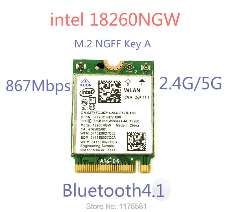 New Laptop Wlan Network For Intel 18260NGW Tri Band Wireless-AC 18260 NGFF 802.11ac 867Mbps Wifi+Bluetooth Wlan BT 4.1 M.2 Card(China (Mainland))