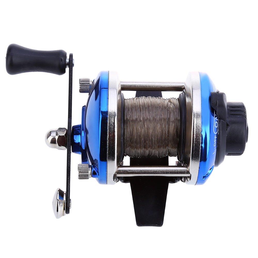 Mini blue fishing reel right hand fishing reel drum for Mini fishing reel