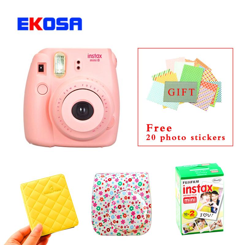 Fujifilm Fuji Instax Mini 8 Instant Film Camera + Mini 8 Bag + Photo Case + Fujifilm Instax Mini 8 Film 20 Sheets Free Shipping