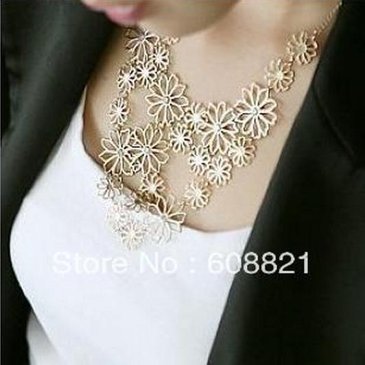 N001 New Multilayer gold hollow flowers statement necklaces for women choker necklace Free shipping B4.9(China (Mainland))