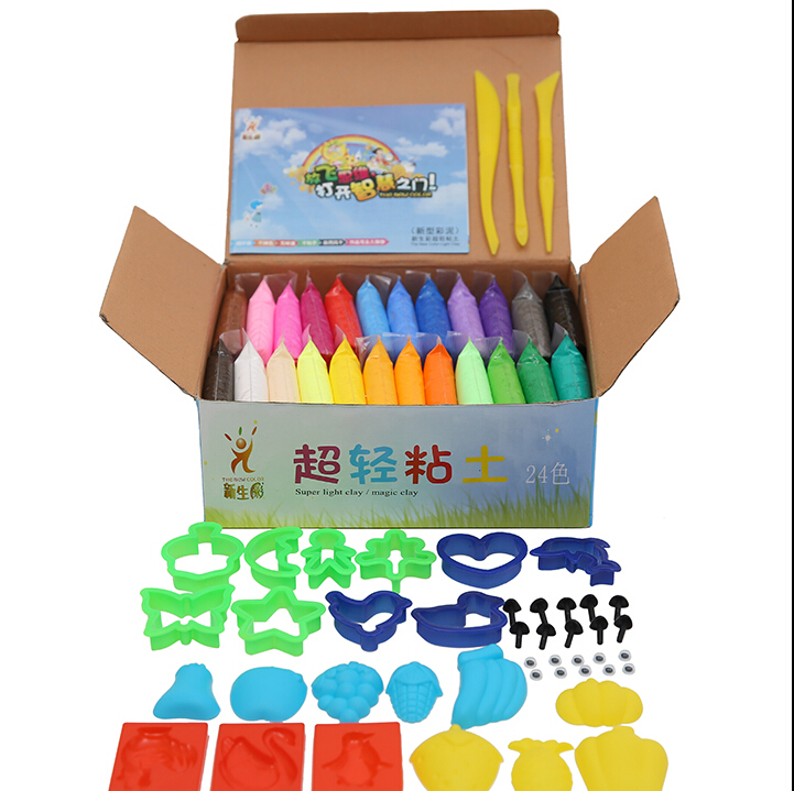 Educational Toys NEW 24 colors 24pcs Soft Polymer Modelling Clay/set/box with tools Effect Blocks Special Toys DIY polymer clay(China (Mainland))