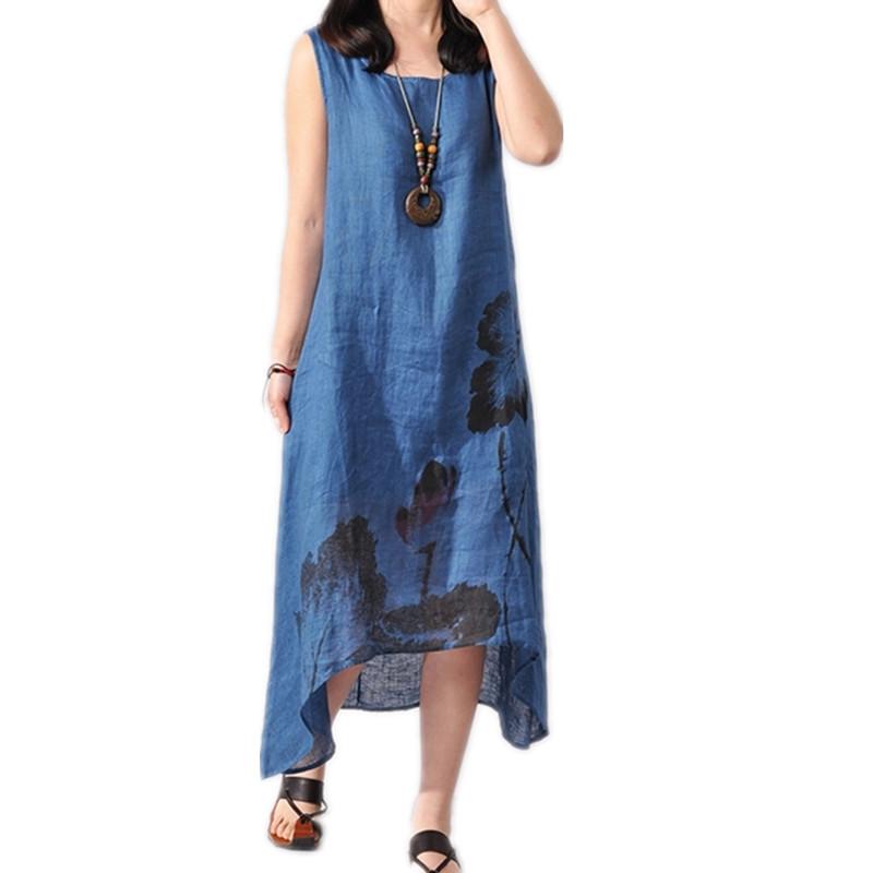 Buy New Fashion Summer Style Cotton Linen Plus Size Vintage Print Women Casual
