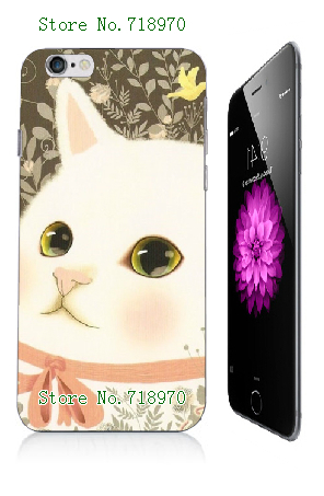 2016 top quality retail fashion online-custom cute cat and dog white hard cases for iphone 6 6s case Free Shipping(China (Mainland))