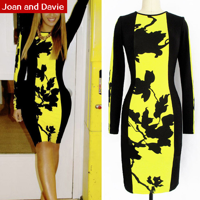2015 Spring autumn women's clothing new fashion long sleeve elegant sheath slim midi dresses formal work wear dress plus size - Joan and Davie store