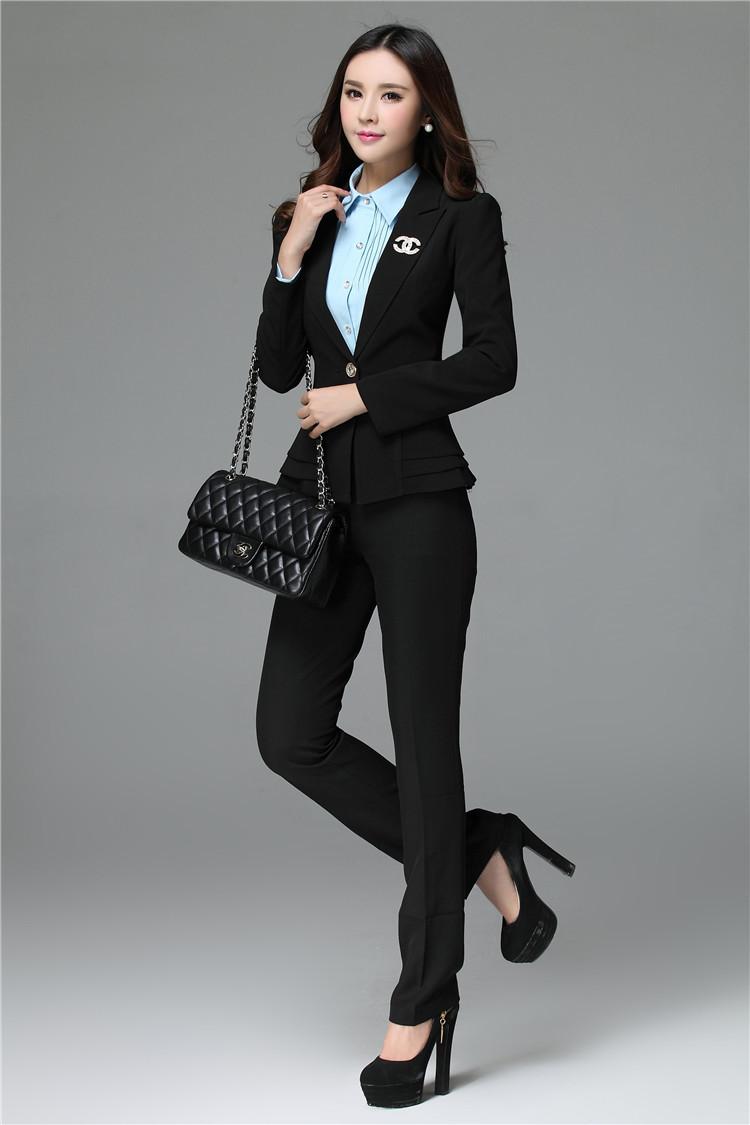 2018 wholesale women formal work wear suits blazer and pants pantsuits uniform style for office. Black Bedroom Furniture Sets. Home Design Ideas