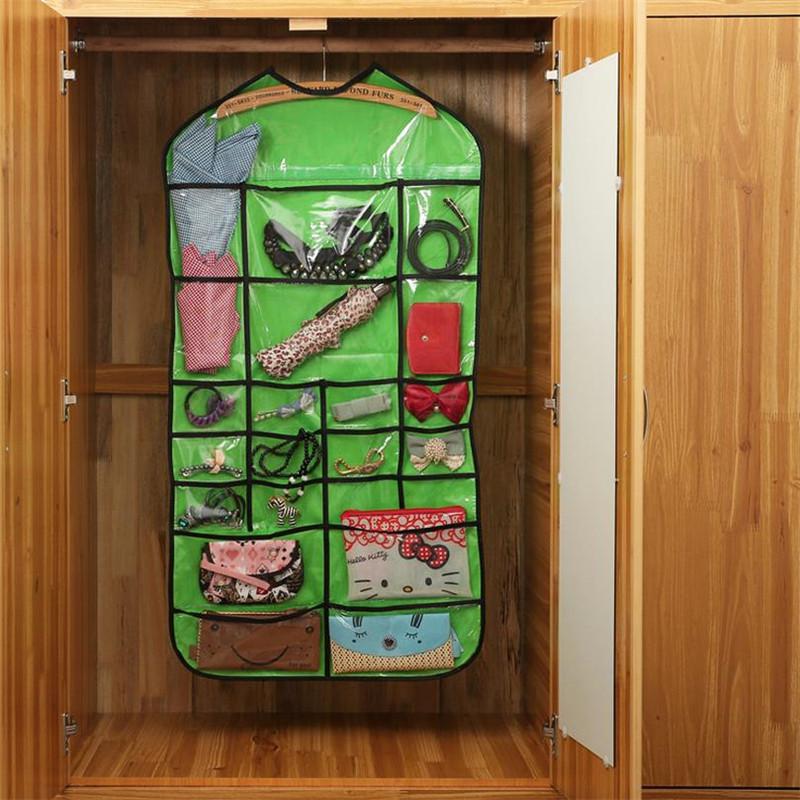 Fashion Waterproof 22 Pocket Hanging Jewelry Organizer Underwear Holder Wardrobe Finishing Groceries Hang Storage Bag New(China (Mainland))