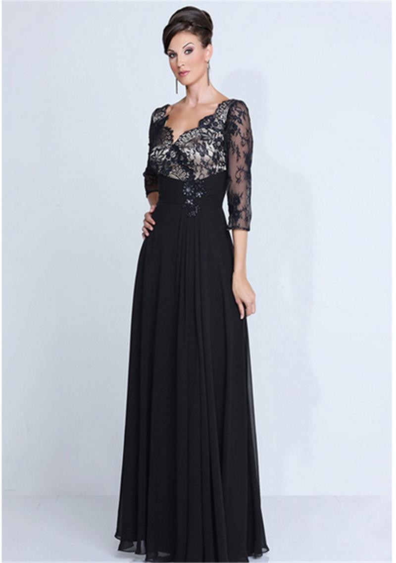 Aliexpress.com Acheter Élégante robe parti robe pas cher longues robes de soirée col v noir dentelle appliqued en mousseline de soie longueur de plancher