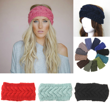 Winter Women Crochet Head Wrap Ear Knit Elastic Headband Lady Woolen Hair Accessories Gray 24 Colors