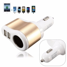 Brand New 12V 1A & 2.1A Universal 2 Ports Dual USB One Way Car Cigarette Lighter Power Socket Charger Adapter High Quality(China (Mainland))