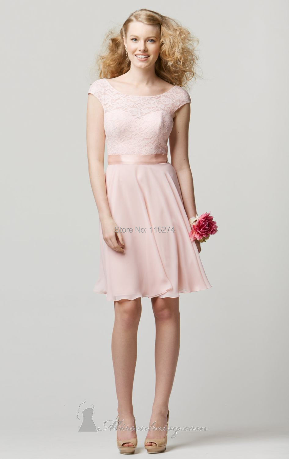 2014 pink short bridesmaid dresses for sale a line chiffon for Wedding dresses for sale cheap