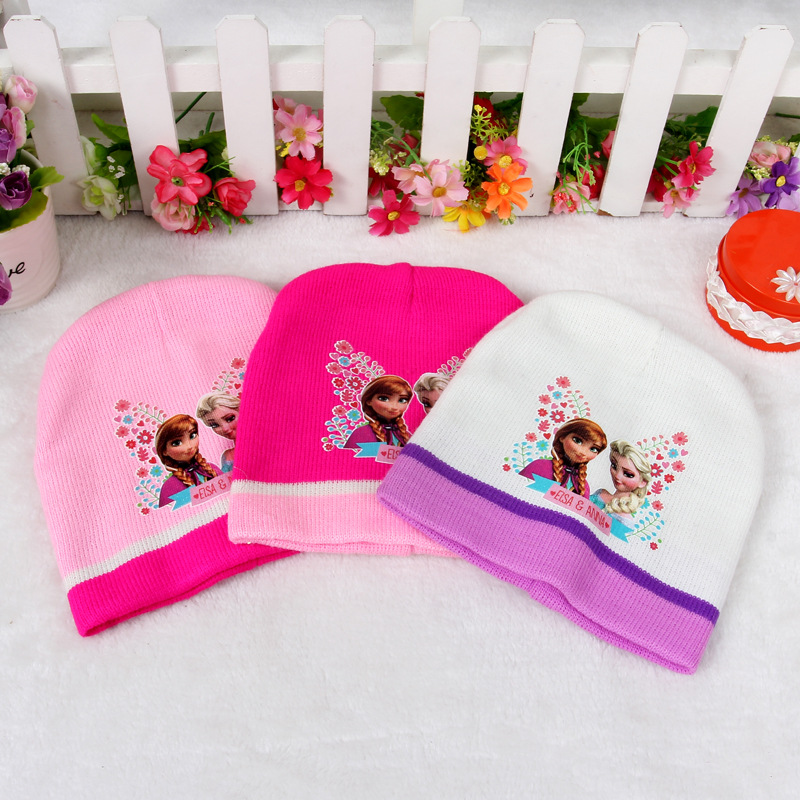 new 2015 autumn baby knitted warm cotton beanie hat for toddler baby kids girl print baby winter hats baby frozenning hat(China (Mainland))