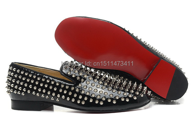 black loafers with spikes