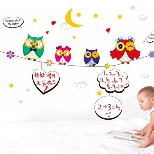 Free Shipping Whiteboard Sticker Cartoon Colorful Owls