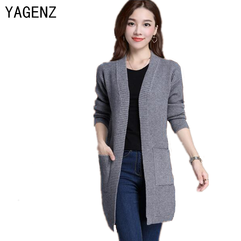 Autumn Winter Women Knitted Cardigan Elegant Slim Long-sleeved Sweater Coat Plus size S-5XL Casual Female Knitted Coat YAGENZ(China (Mainland))