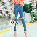 2016 High Waist Jeans Women Skinny Elastic Pencil Pants Denim Ripped Boyfriend Jeans With Holes For