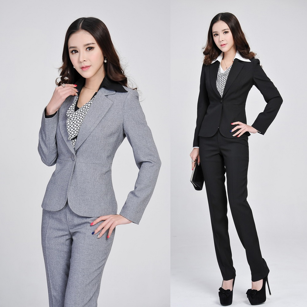 Aliexpress.com  Buy Formal Ladies Gray Blazer Women ...