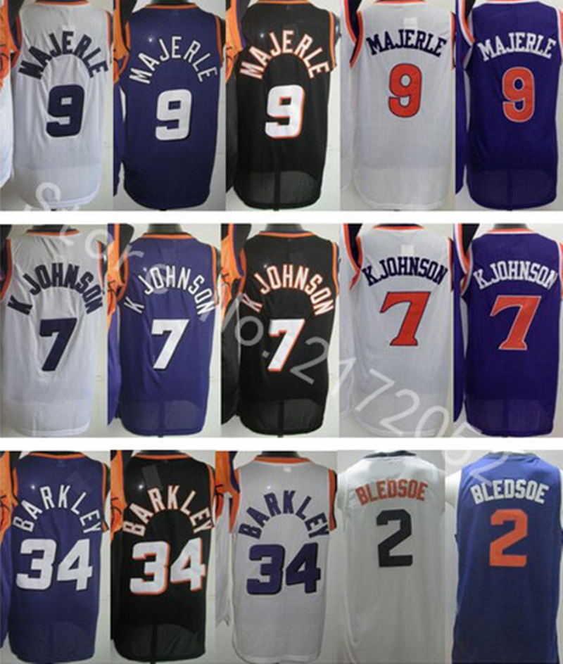 Cheap 2015-16 New #2 Eric Bledsoe #7 Kevin Johnson #9 Dan Majerle #34 Charles Barkley Basketball Jersey Embroidery Logos Jersey(China (Mainland))