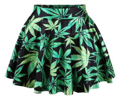 2015 женщины юбки весна лето сорняк листьев фигурист юбка свободного покроя яркий цвет Pleat мини-юбки Saia Femal Большой размер