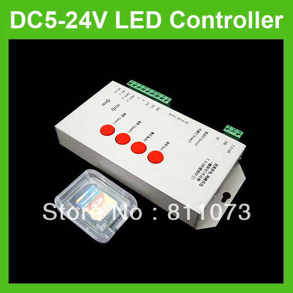 DC5-24V T1000S RGB LED 2048 Pixel Controller LPD6803 WS2811 Strip Module With SD Card(China (Mainland))
