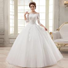 Lace Wedding Dress 2016 Vestido De Noiva Three Quarter Sleeve Boat Neck Casamento Bridal Wedding Gown Robe De Mariage Renda Boda(China (Mainland))