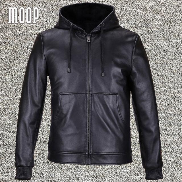 Черный натуральная кожа куртки и пальто мужчины 100% овчины с капюшоном куртка мотоцикла пальто весте cuir homme 2 накладными карманами LT559