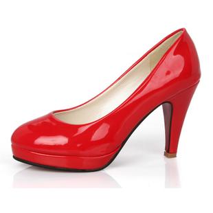 Four seasons women simple elegant japanned leather platform high heel female shoes single shoes wedding shoes red black white