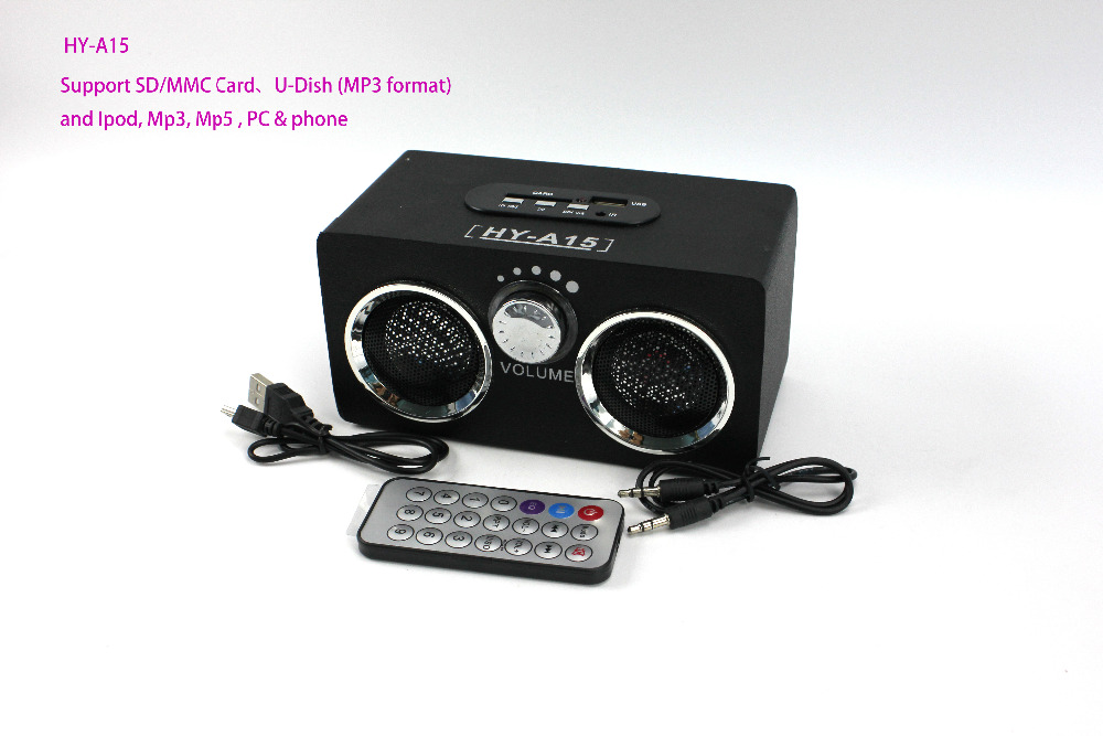 Black HY-A15 Wooden speaker mini dock music box Support Ipod/Mp3/Mp5/PC&Phone/U disk MP3 Format  -  HaiSaiTe Store store