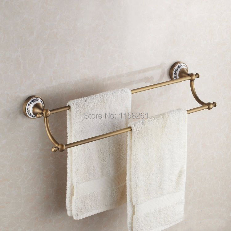 "Free shipping(24"",60cm) Double Towel Bar with ceramic Antique bronze finish/Towel Holder,towel rack,Bathroom accessories HJ-1811(China (Mainland))"
