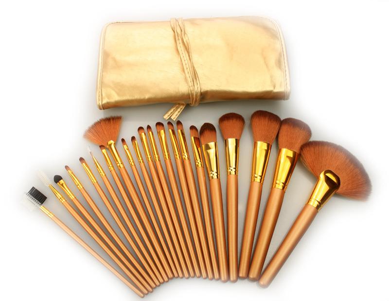 50set/lot Wholesale Professional Cosmetic Make Up Brush Set 21pcs Make up Brush Set tools Make-up Toiletry Kit Gold Brown Purple<br><br>Aliexpress