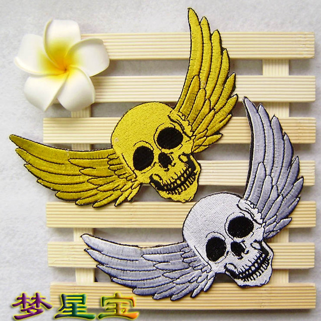 Free shipping 5 pcs/lot hot sale exquisite embroidery self-adhesive fabric sticker skull wings cloth paste patches 14.2*10cm