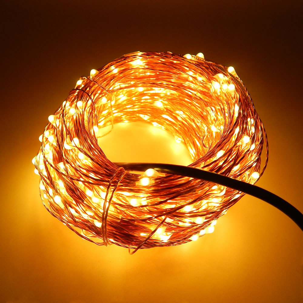 String Lights With Wire : 30m 300 LED Outdoor Christmas Fairy Lights Warm White Copper Wire LED String Lights Starry Light ...