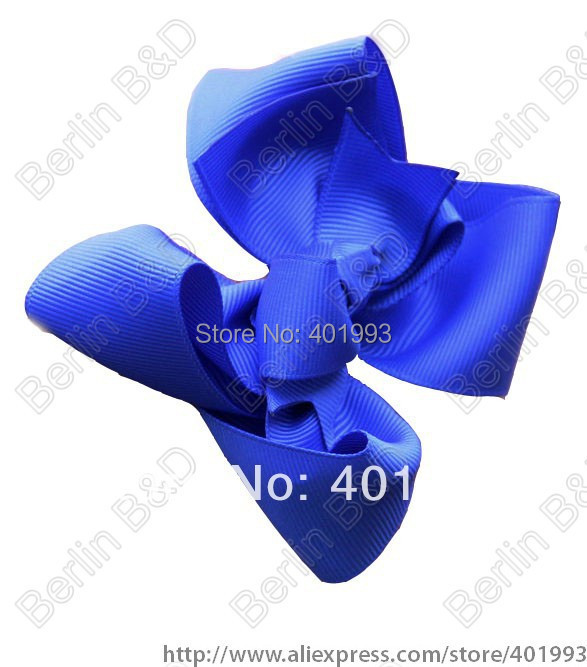 "Chinapost Free 20pcs/lot Mixed18colors Hair Bow - 4"" Medium Double Layer Girl Bow Boutique Bow - Blue Bow for toddlers(China (Mainland))"