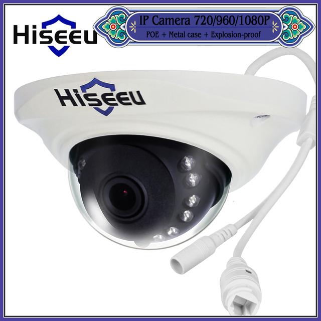 Hiseeu 720P 960P POE Metal Case IP Network HD CCTV Camera Security Mini Dome Android IOS H.264 P2P ONVIF HCR7