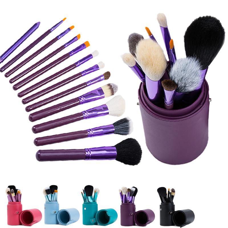 12 pcs/set high quality goat hair Makeup Brushes set maquiagem Cosmetic Set wood Brush Pink Cup Holder Case Make up kit(China (Mainland))