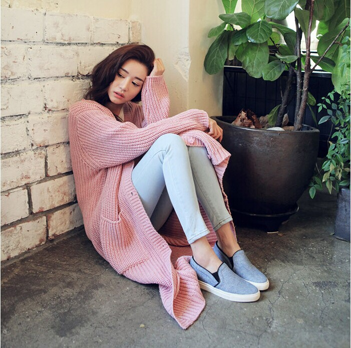 sweaters 2014 fashion elegant fall warm ladies long sleeve loose casual sweater women long knitted cardigans coat winter female(China (Mainland))